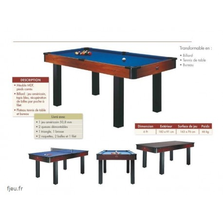 billard am ricain 6ft transformable table bureau ping pong. Black Bedroom Furniture Sets. Home Design Ideas